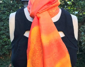 Orange Silk Scarf- 100% Silk- Painted in CA