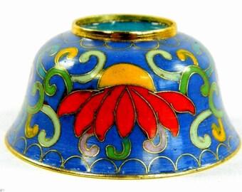 Vintage Light Blue Cloisonne Copper Brass Enamel Bowl,Buddhism Lotus Flower Pattern,Collection Decoration & Actual Use,Chinese Handicraft