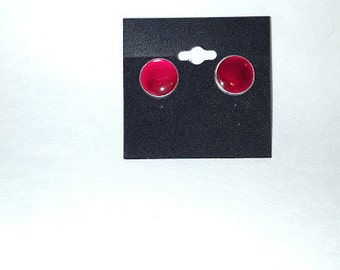 Vibrant red 14mm stud earrings