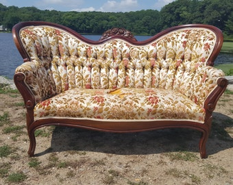 Antique Victorian Floral Loveseat - Stunning Vintage Velvet Sofa / Couch - Ready for customization and upholstery!