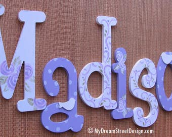 Wood Letters, Painted Wall Letters, Baby Girl Nursery, Name Sign, Nursery Letters, Teen Letters, Floral Design, Purple, Lavender, White