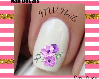 Purple Flower Painting Nail Art Decals Tinkerbell