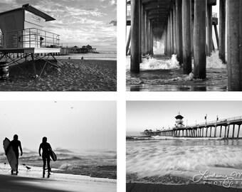 "Beach Photo Set | ""B&W Huntington Beach""  | California Beach Wall Art | 8x10 Print Set - 8x12 Print Set - 11x14 Print Set - 16x20 Print Set"