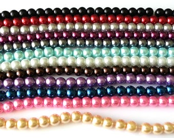 Glass pearl beads 8mm round - glass beads - assorted colours - jewellery beads