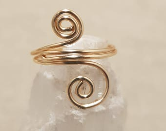 Wire work ring; Wire wrap ring; Gold ring; Gold wire ring; Simple gold ring;