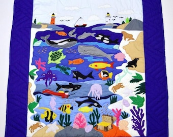 Hand made Underwater sea world appliquéd wall hanging quilt 40 x 50 not a panel