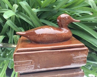 Charming Hand-made Brown Ceramic Duck Box