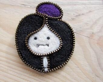 Adventure time pin, zipper brooch, Marceline   zipper brooches, zipper pin, zipper jewelry,  Marceline pin, brooch,fabric brooch,