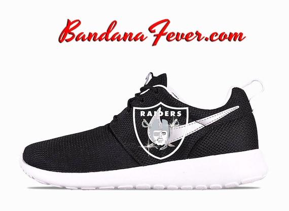 dae6f7bd60cc on sale Nike Bling Oakland Raiders Roshe Run Women s by BandanaFeverBling