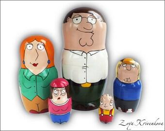 Nesting doll Family Guy Geek Gift Matryoshka 5pcs Peter Griffin Lois Griffin Stewie Chris Griffin Meg Griffin/Матрешка Гриффины