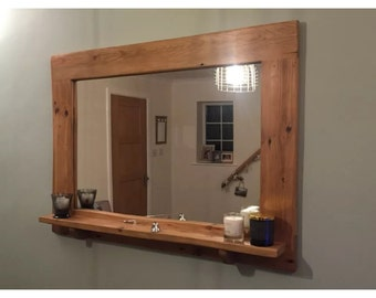 Reclaimed rustic mirror with shelf