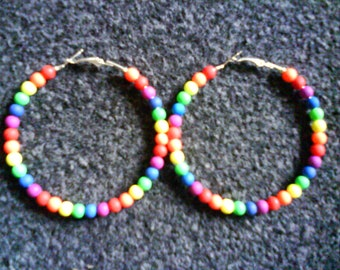 LoliRosa Large Neon Bead Covered Hoop Earrings