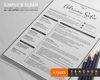 Teacher Resume Template /Teacher CV Template, Word Format + Cover Letter + Reference Letter, 4 Page Creative Resume, Instant Download
