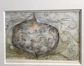 Modern art original Watercolor painting earth zen abstract