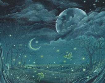 art print field of fireflies fantasy surreal nocturnal landscape moon on night sky flying moths in the forest