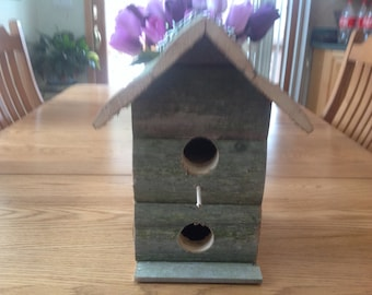 Bird house rustic double verticle birdhouses rustic FREE SHIPPING