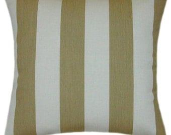 Sunbrella Maxim Heather Beige Indoor/Outdoor Striped Pillow