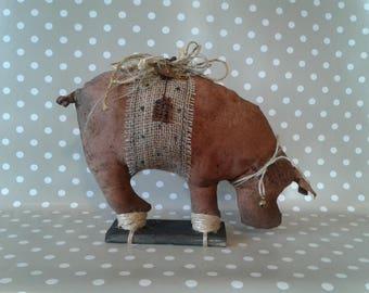 Pink Primitive Pig - Primitive Decor- Primitive Self Sitter -Farm Decor - Potbelly Pig - Primitive Art - Rustic Decor - Primitive Hog -