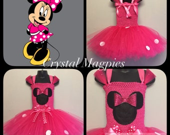 Minnie Mouse inspired tutu dress with rhinestones and glitter bow