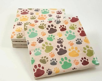 Paw Print Coasters - Drink Coasters - Ceramic Coasters - Paw Print Decor - Housewarming Gift - Dog Lover Gift - Tile Coasters