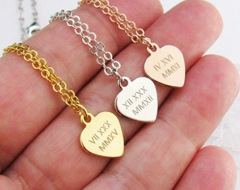 Engraved Heart Necklace with Roman Numeral Date – Gold, Silver or Rose Gold Date Necklace