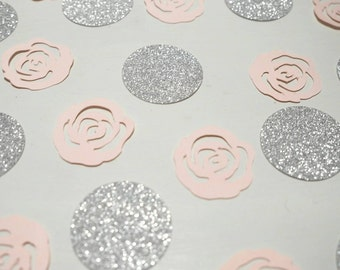 Wedding Confetti. Pastel Pink Rose party decor. Glitter party decor. Silver glitter confetti. Over 50 pieces.