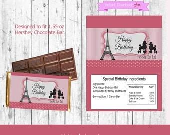Paris Candy Bar Wrapper-Eiffel Tower Candy Bar Wrapper-Birthday Candy Bar Wrapper