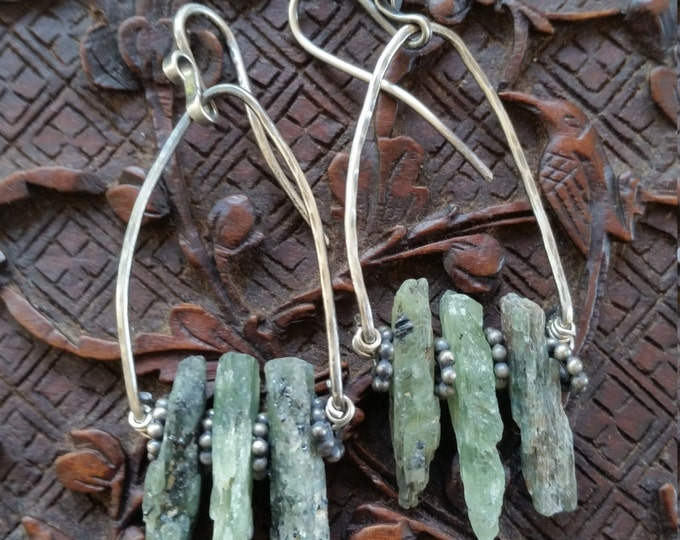 Earrings Featuring Raw Green Kyanite Crystals and Sterling Silver Hoops