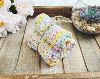 Pastel Crochet Washcloth Set | Pastel Washcloth Set | Crocheted Washcloths | Crochet Dishcloth Set | Handmade Washcloth Set