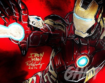 Iron Man; Canvas and Metal Prints, Tony Stark; Robert Downey Jr., Avengers, Marvel, Fanart,