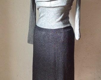 90s glitter Skirt//glittery Skirt wool Skirt anthracite glitter//////Wool wool skirt Skirt//90s wool Skirt