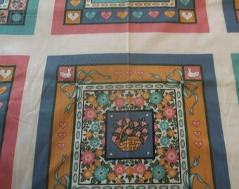 "Garden Cuddle Print Pillow or Quilt Panel - 32"" X 44/45"" Wide"