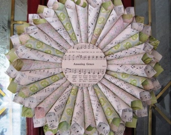 11 Inch Paper Wreath, Hymnal Wreath, Music Paper Wreath, Vintage Paper Wreath, Amazing Grace