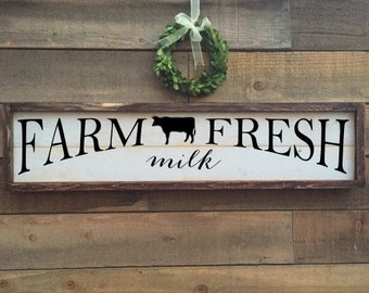Farm fresh milk, Farmer's Market Sign, vintage Home Decor