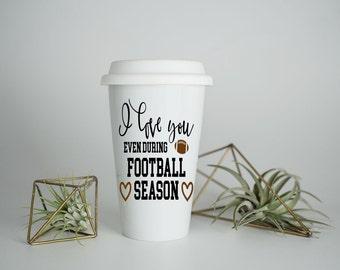 Football Travel Mug, Travel Mug, Personalized Gift, Personalized Mug, Tea Mug