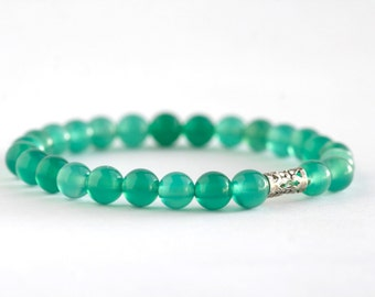 6mm Green Agate Gemstone Stretch Bracelet, Mens Bracelet, Womens Bracelet, Gemstone, Yoga, Gift-Stretchable-Beaded Jewelry-Several Sizes