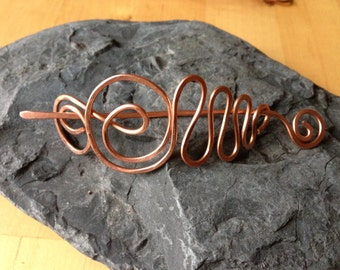 Copper shawl pin, hair pin or scarf pin handmade jewelry gift for her