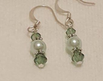 Green Pearl glass earrings