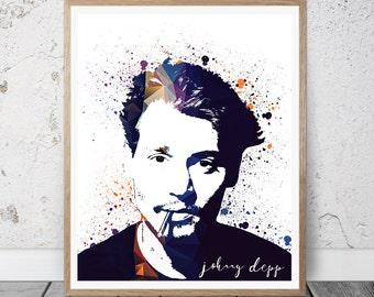 Johnny Depp Silhouettes Printable Instant Download Home Decor Wall Art Johnny Depp Art Print Office Decor Johnny Depp Modern Art Print