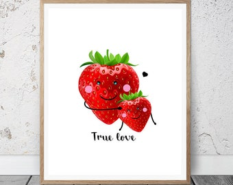 Kitchen Art Print, Mothers Day Print, Strawberry Print, Kitchen Decor,  Summer Fruit
