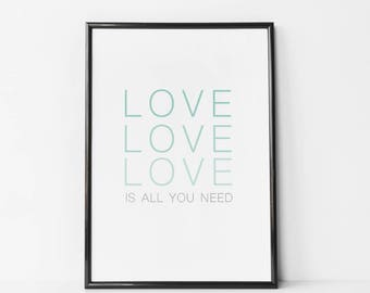 Nursery Word Art, Love Wall Art, Mint Nursery Decor, Love Print, Mint and Grey Print, Kids Room Poster, Love Poster