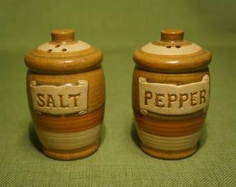 Barrel Shaped Earthenware Ceramic JAPAN Salt & Pepper Shakers