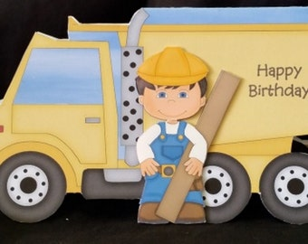 Dump Truck Shaped 3D Happy Birthday Card-Trucks-Machinery-Hard Hat-Construction-Builder-Workman-Son-Brother-Nephew-Friend