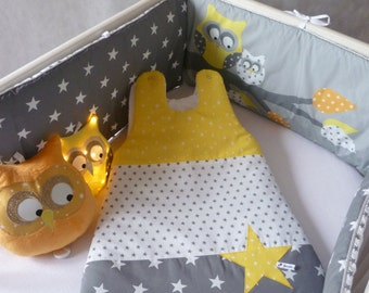 Round bed and Swaddle owls gray/yellow