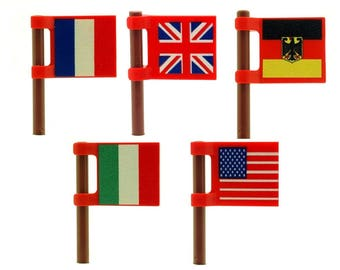Custom Minifigure Flags French, United Kingdom, Germany, Italy & United States of America Printed on Both Sides - Custom LEGO Accessories