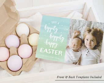 Easter Card Template, Easter Photo Card, Printable Easter Card, Spring Greetings, Birth Announcement Editable PDF Instant Download #SPP320ea