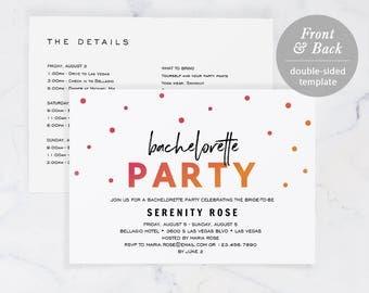 Bachelorette Party Invitation Template, Printable Bachelorette Invite, Instant Download, Editable PDF Modern Wedding, Pop, #SPP049bc