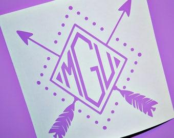 Diamond Arrow Monogram Decal