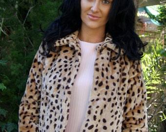 60's faux leopard skin crop jacket. Size small.