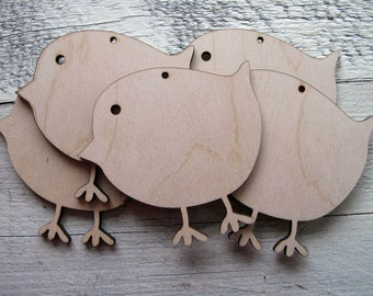 Easter Chicks x 5 Birch Ply Decoration Hanging